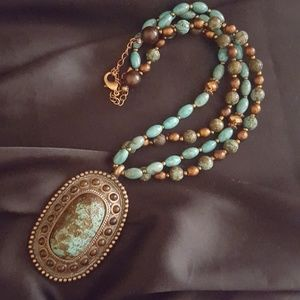 Jewelry - HUGE FAUX TURQUOISE NECKLACE! Blue Glass Beads New